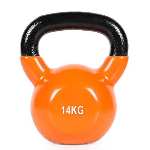Kettle Gewichte, massives Gusseisen Kessel Glocke, 2.26kg, 4kg, 6kg, 8kg, 10kg, 12kg, 14kg, 16kg Farbe Kettle Set mit Vinyl-Beschichtung, Geeignet für Gym Fitness Gewichtheben,14kg