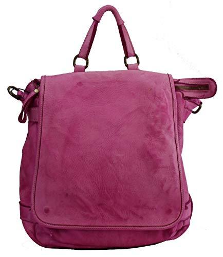BZNA Anna Fuxia - Zaino di design, in pelle, da donna, in nappa, colore: rosa