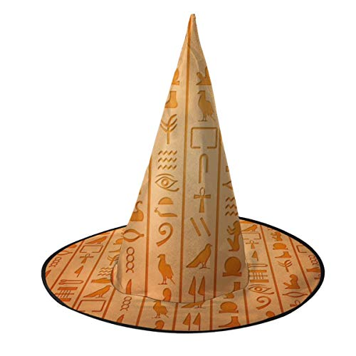 Best Prices! Egyptian Hieroglyphics Funny Halloween Witch Hat For Women Halloween Party Cosplay Deco...