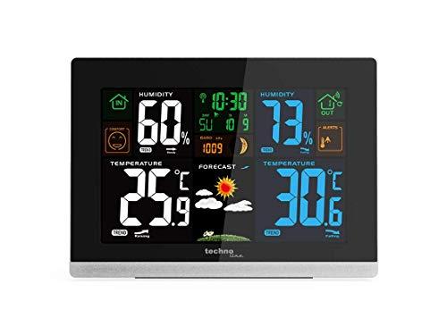 Technoline WS 6462 weerstation, binnentemperatuur, buitentemperatuur, luchtvochtigheid, luchtdruk, oppervlakteweergave, dauwpunt, kleurenscherm, radioklok, maanstanden zwart met batterijen