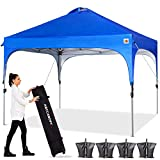 ABCCANOPY Canopy Tent 10x10 Pop Up Canopy Outdoor Canopies Super Compact Canopy Portable Tent Popup Beach Canopy Shade Canopy Tent with Wheeled Carry Bag Bonus 4xWeight Bags,4xRopes&4xStakes,Blue
