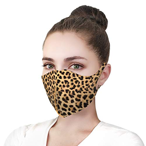 Leopard Print Reusable Face Mask Washable Breathable Comfortable Outdoor Protection Fashion Design Prints Cloth Masks Mouth Covering Disposable Protection for Men Women(1 pcs)