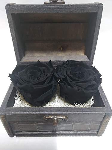 Almaflor Rosas eternas Naturales Negras Cofre de Madera Artesanal con Dos Rosas eternas Negras sobre Base de Musgo preservado. Hecho en España.