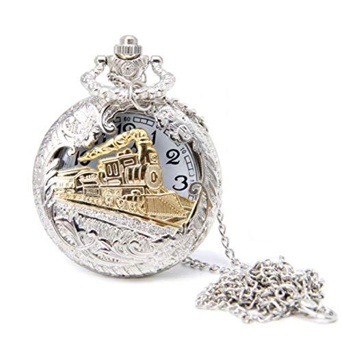 GUOJIAYI Reloj de bolsillo de tren reloj de bolsillo cadena de cuarzo locomotora colgante reloj de bolsillo regalo