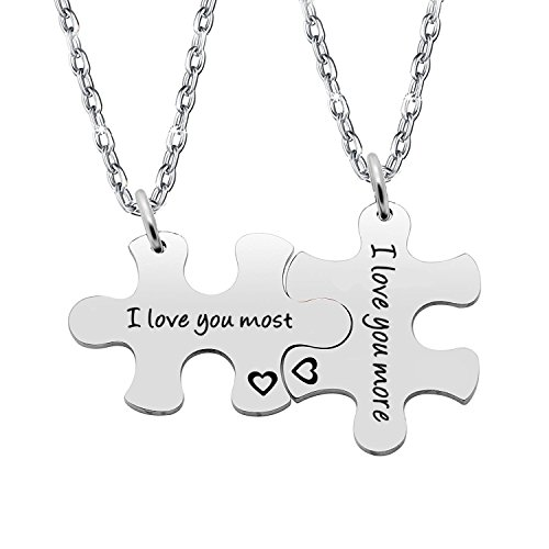 Gzrlyf Puzzle Piece Keychain I Love You Most I Love You More Keychain Couples Jewelry (Set Necklace)