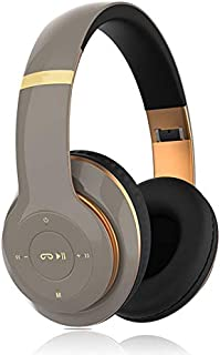 Noise Cancelling Headphones Bluetooth Headset, with Microphone Deep Bass Wireless Headphones Over Ear,10 M Connection Distance, for Online Class, Home Office, PC/Cell Phones/TV,Brown