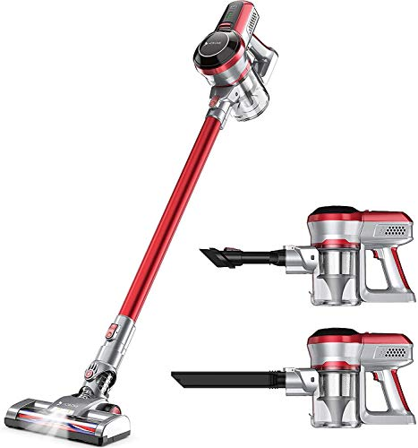 Hosome Cordless Vacuum Cleaner 4 in 1 Upright Powerful 140W Handheld Stick Vacuum Cleaner with LED, Rechargeable Cordless Vacuums for Multi-Surface Pet Hair Cleaning Up to 30 Mins Working Time