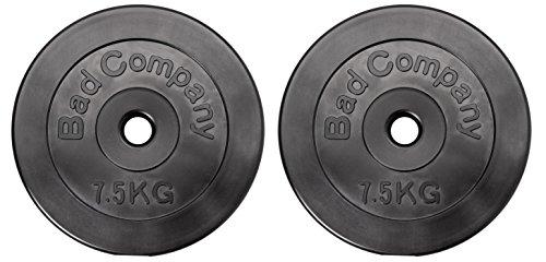 Bad Company Hantelscheiben mit Kunststoff Ummantelung 30/31 mm Paarweise (1-30 kg) oder als Set (3-90 kg) (2 x 7,5 Kg)