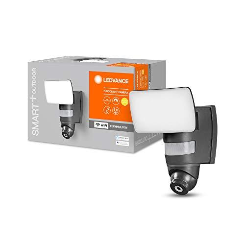 LEDVANCE Smarte Security LED Leuchte mit integrierter Kamera, Flutstrahler für Außen mit WiFi Technologie, Steuerung über Handy App möglich, Warmweiß (3000K), Kompatibel mit Google Voice und Alexa
