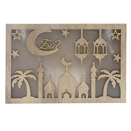 PRETYZOOM Led Nachtlampje Eid Mubarak Ramadan Maan Nachtlampje Decoratieve Houten Nachtkastje Lamp Voor Slaapkamer Moslim Feestdecoraties Cadeau Zonder Batterij