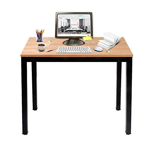 DlandHome Mesa de Ordenador 100x60cm Escritorio de Oficina Mesa de Estudio Puesto de Trabajo Mesa de Despacho, Teca & Nero