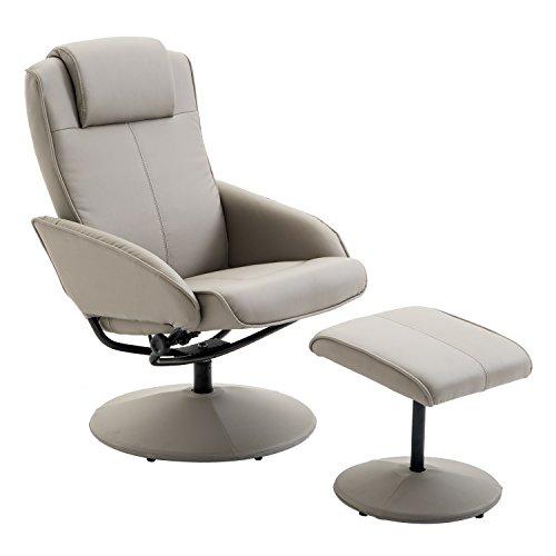 HOMCOM Relaxsessel Sessel Fernsehsessel Armsessel 360° drehbar mit Fußstütze Grau L78 × B71 × H101 cm
