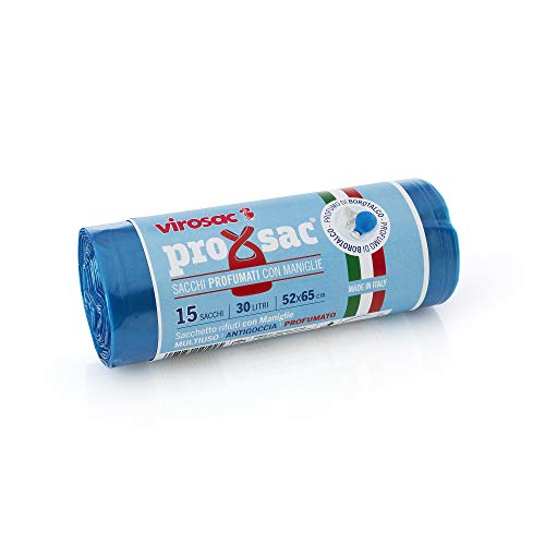 VIROSAC Rotolo 15 Sacchi Profumati al Talco, Nylon, Azzurro, 52x0.1x65 cm