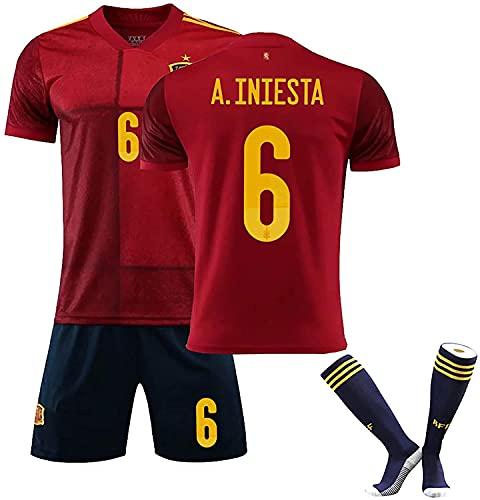 SXMY Herren Spanien Fußball Trikot Uniform/Trainingshemd, Ramos Iniesta ISCO, Heimtrikot 2021, Trainingsanzug Anzug, Geschenk(Size:18,Color:Rojo 6)