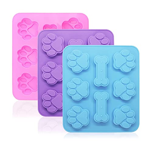 3 Pack Silicone Molds Puppy Dog Paw and Dog Bone Silicone Molds for Baking Chocolate,Candy,Jelly,Ice Cube,Dog Treats
