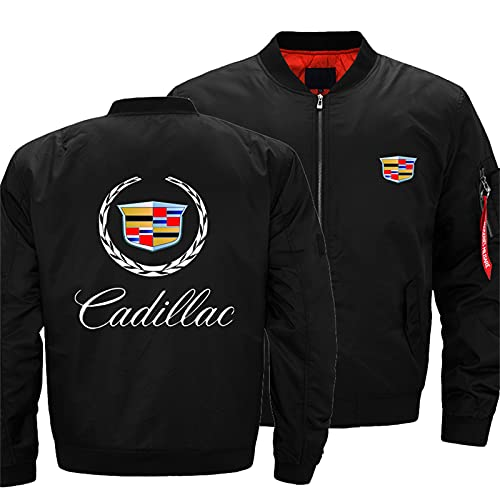 Men's Bomber Jacket for Cadillac Flight Windproof Lightweight Outwear Autumn And Winter Warm Padded Coat Full Zip Pockets -Adult Gift