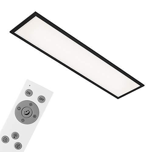 Briloner Leuchten - Deckenlampe, LED Panel dimmbar, Farbtemperatursteuerung, inkl. Fernbedienung, 24 Watt, 2.200 Lumen, Weiß-Schwarz, 1.000x250x60mm (LxBxH), 7167-015
