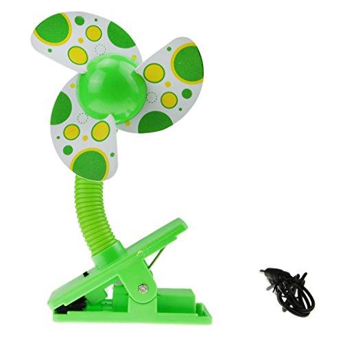 Bao core espuma hoja bebé cochecito Mini ventilador Samsung Galaxy S3MINI ventilador de refrigeración enfriador de aire para cuna cama de carritos con pilas, amarillo/verde/azul