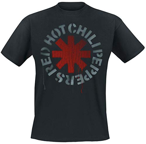 Red Hot Chili Peppers Stencil Black Männer T-Shirt schwarz L 100% Baumwolle Band-Merch, Bands