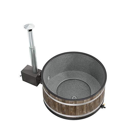 Odoro Essenzen Bade-Zuber Bade-Fass Holz mit Ofen beheizt Badetonne Badespaß Kinder Outdoor Pool Swimming-Pool Hot Pott Hot Tub