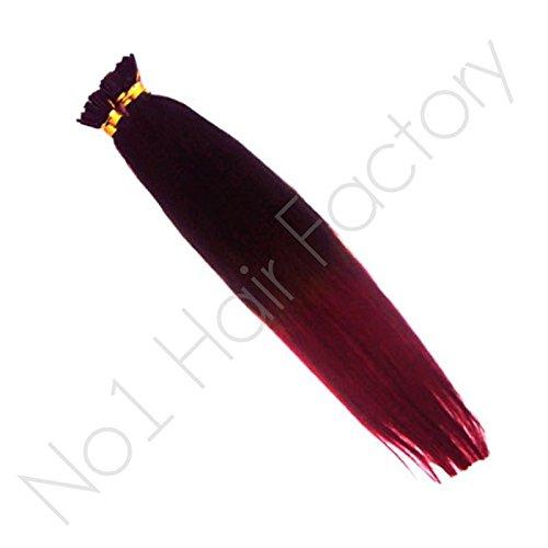 50,8 cm DIP DYE Pointe Extensions cheveux Marron foncé # 2/# 530 Prune rouge