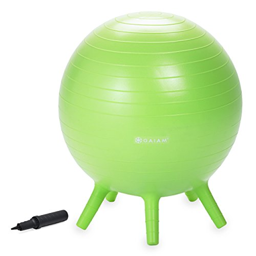Gaiam Kids Stay-N-Play Children's Balance Ball - Flexible School Chair Active Classroom Desk Alternative Seating | Built-In Stay-Put Soft Stability Legs, Includes Air Pump, 45cm, Lime