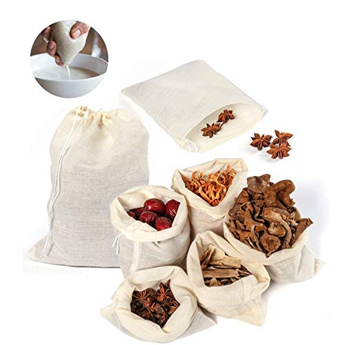 Reusable Drawstring Cotton Soup Bags - 20 Pack Cheesecloth Bags for Straining, Muslin Bags, Coffee Tea Bone Broth Brew Bags (8x10 inch)