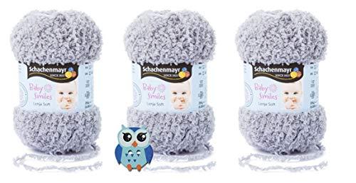 3x25 Gramm Schachenmayr Baby Smiles Lenja Soft Nr. 1090 Grau aus 100% Polyester Speichelecht, Schadstoffgeprüft, Hautfreundlich + 1 Eulen Knopf Holz zum aufnähen