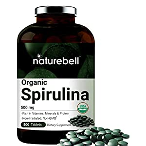 Organic Spirulina Tablets, 3000mg Per Serving, 500 Counts, Immune Vitamins to Support Immune System, Rich in Minerals, Fatty Acids, Protein, Chlorophyll and Antioxidant, No GMOs and Vegan Friendly