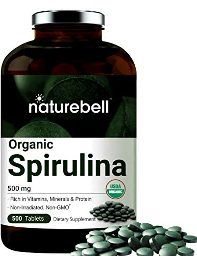 Organic Spirulina Tablets, 3000mg Per Serving, 500 Counts, Rich in Vitamins, Minerals, Fatty Acids, Protein, Chlorophyll and Antioxidant, No GMOs and Vegan Friendly