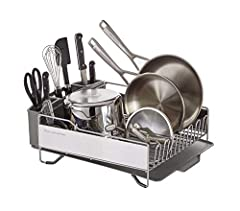 Multi-Functional: Large capacity, designed to drain over any sink or atop a drying mat on the countertop, this dish rack can handle assorted dinnerware such as plates, bowls, and cups and full sized pots and pans High Quality: Heavy duty, satin coate...