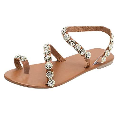 Sandalias Mujer Zapatos Mujer Matrimonio Ceremonia Verano cordón Cordones Zapatos de Boda Sandalias Playa Planas Casual cómodo Bohemia Romanas Sandalias de Vestir Elegantes de Dedo