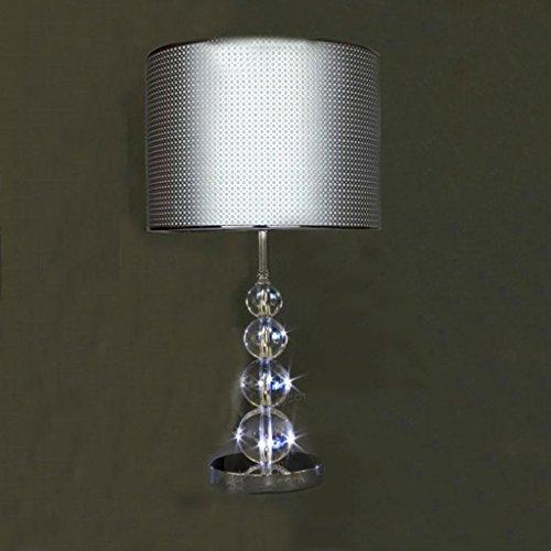 CSD Sala de estar Lámpara de mesa Hall 9k Lámpara de mesa de cristal tallado acrílico Pantalla de plata Cool Large Simple Post-moderna lámpara de mesa, E27