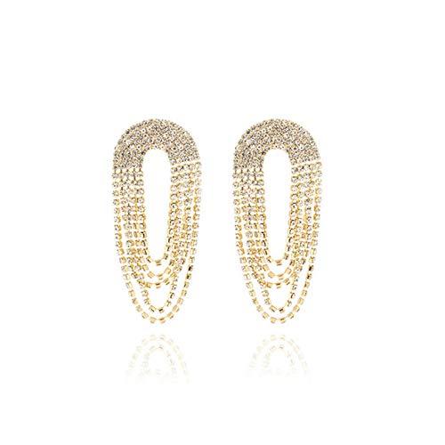 Empty Pendientes de Borla Largos Circulares de Moda para Mujeres Joyas Indias Cadena de Cristal Pendientes Colgantes Color Dorado Regalo Vintage-Gold_