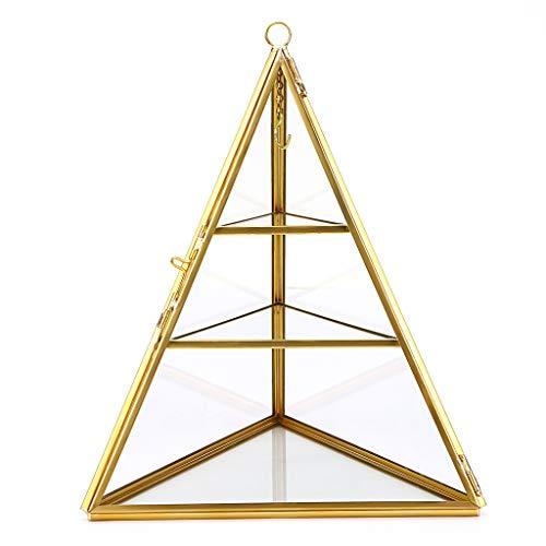 Sumnacon Schmuckschatulle aus Metall und Glas,mit Deckel, 3 Fächern,Diamanten-Prisma,für Schmuck von Damen,Ring, Geschenk für Muttertag und Hochzeit,Geburtstag(Golden)