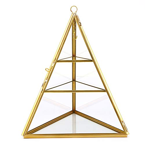 Sumnacon Jewelry Ring Display Holder Geometric Diamond Prism Glass Jewelry Box Stand Display case Gift Box Hanging Ring, Earrings 3-Tier