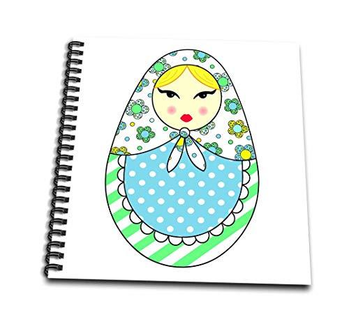 3dRose DB 58623_ 3süße Russische Matrjoschka Matroschka Nistkasten Puppe blond Hair-cool Farben White-Mini Notizblock, 4von 10,2cm
