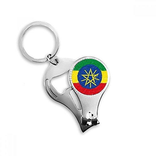 Rood Geel Groene Strepen Ethiopië Vlag Nationale Culturele Element Metalen Sleutelhanger Ring Multifunctionele Nagel Clippers Fles Opener Auto Sleutelhanger Beste Charm Gift