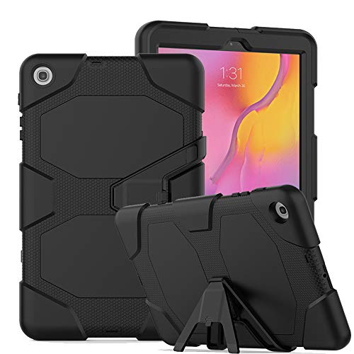 LKXING Samsung Galaxy Tab A Case 10.1 2019, SM-T510 Case, Heavy Duty Rugged Full-Body Hybrid Shockproof Drop Protection Case With Kickstand for Galaxy Tab a 10.1 Inch 2019(SM-T510/T515) (black)