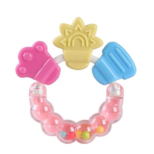 Sonajero Mordedor anillo de silicona suave higiénico Mordedor Chew pegatinas Juguetes Eco Friendly BPA del dolor de encías alivio del dolor (color al azar) de la nariz del bebé y cuidado de la boca