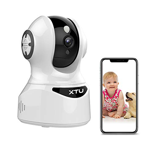 XTU Wireless Security Camera, 1080P Pet Camera with Motion Detection, Two-Way Audio, Night Vision, Compatible with Alexa