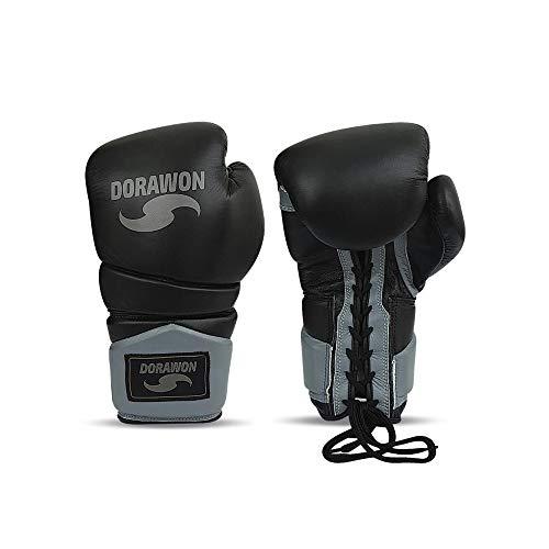 DORAWON, Guantes de Boxeo de competición de Cuero con Cordones Black Talla...