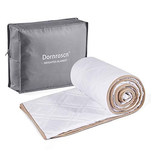 Dornroscn - Manta pesada de bambú 100% natural con abalorio de vidrio de alta calidad, 5,4 kg, 152 x 203 cm, tamaño queen | para adultos y niños | manta pesada | blanco
