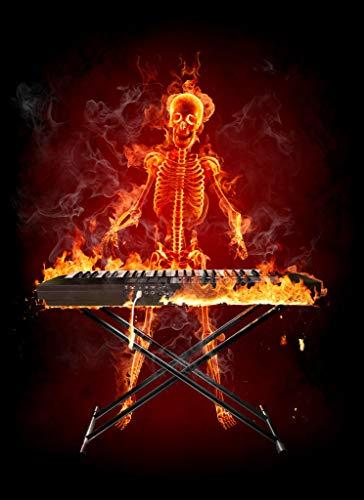 LYWUSUZE DIY Malen Nach Zahlen Brennendes Klavier Und Skelett Moderne Künstlerresidenz Dekoration Geschenke 50X60 cm (Ohne Rahmen)