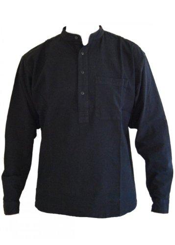 Noire papy col chemise en coton taille petite à 2XL Small