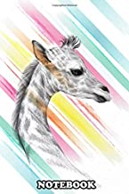 Notebook: Hand Drawn Cute Little Giraffe On Colorful Brush Stroke , Journal for Writing, College Ruled Size 6