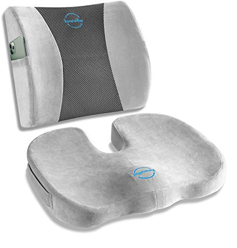 Ultimate Set: Ergonomic Lumbar Support Pillow and U-Shaped Seat Cushion for Office Chair, Car Seat, Computer and Desk Chairs. Office Chair Cushions for Coccyx, Sciatica, Back, Tailbone Pain Relief.