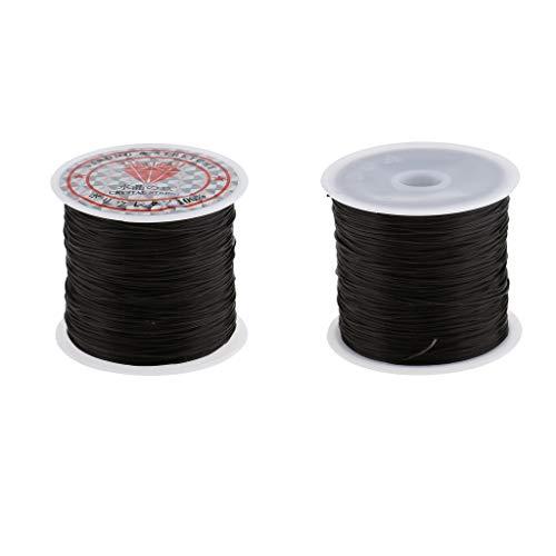 B Blesiya 2x 60m 1mm Rouleau de Cordon/Cord Elastique en Polyester pour Tressage Cheveux/Perruque Fil pour Tresser Bracelet Bijoux Collier DIY String
