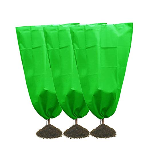 Bache de Protection LJIANW Housse De Protection for Plante,Warm Frost Cloth Garden Fabric Protecting Fruit Tree Potted Plants from Freezing Animals Eating (Color : Green-A, Size : 3pcs)