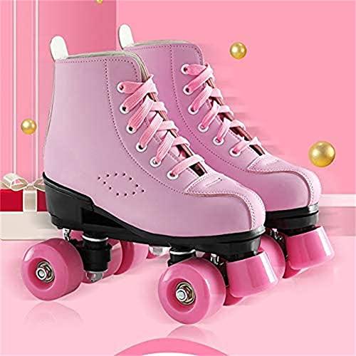 CHLDDHC Patines De Ruedas para Mujer Classic PinkQuad Skates